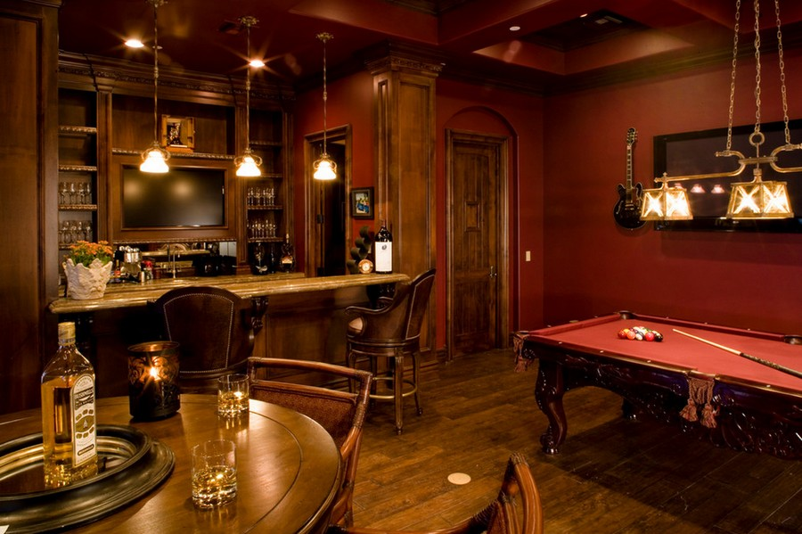 6-1-billiards-pool-room-interior-design-table-wooden-floor-carpet-rug-pendant-lamps-red-wood-cloth-bar-table-ceiling-beams-classical-style