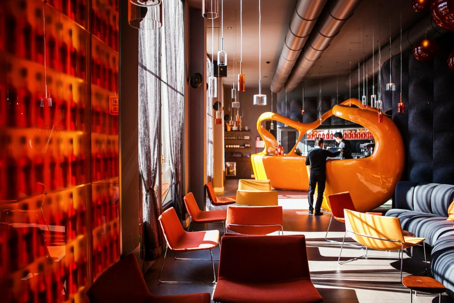 6-2-La-Terrazza-Aperol-restaurant-cafe-bar-in-Milan-Italy-interior-design-3d-walls-surrealistic-futuristic-bar-design-exposed-pipes-panoramic-windows