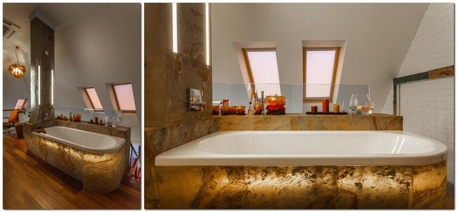 6-contemporary-style-bathroom-interior-design-creative-bathtub-plastic-base-incorporated-LED-lights-flexible-stone-Anjasora-Flextone-skylights-attic-teak-floor-parquetry-chandelier-brown-and-white