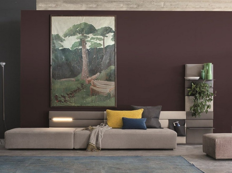 6-contemporary-style-living-room-interior-design-purple-wall-gray-modular-sofa-green-accents-greenery-poster-upholstered-shelves-vases-velvet-vintage-carpet