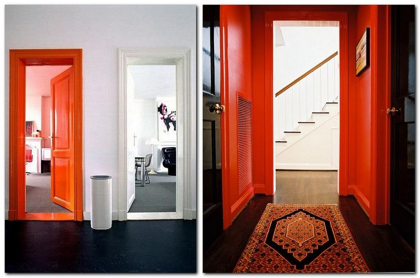 6-flame-red-color-by-Pantone-2017-in-interior-design-corridor-hallway-doorway-door