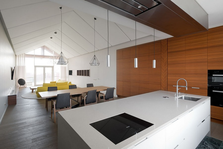6-open-concept-living-room-kitchen-dining-zone-interior-design-in-contemporary-style-white-walls-minimalism-spacious-big-yellow-sofa-panoramic-window-timber-house-push-to-open-cabinets-island