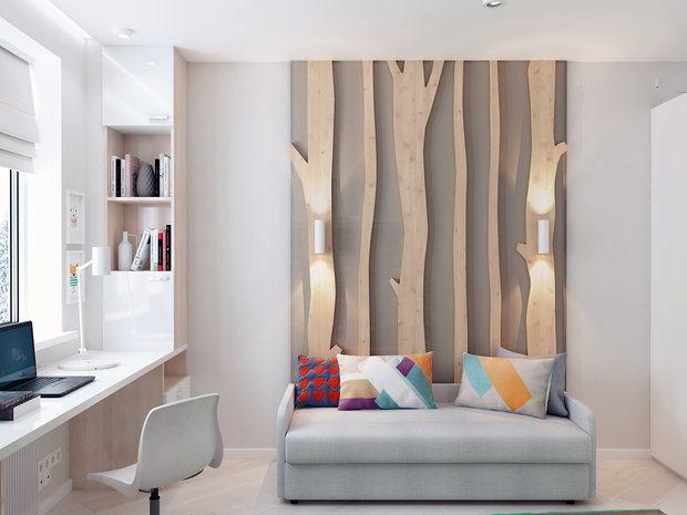 7-2-contemporary-style-interior-design-white-beige-gray-study-work-area-desk-3D-wall-decor-wooden-panels-tree-naturalistic