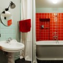 7-bachelor's-interior-design-bathroom-light-blue-walls-red-square-tiles-wash-basin-English-bathtub-shelves