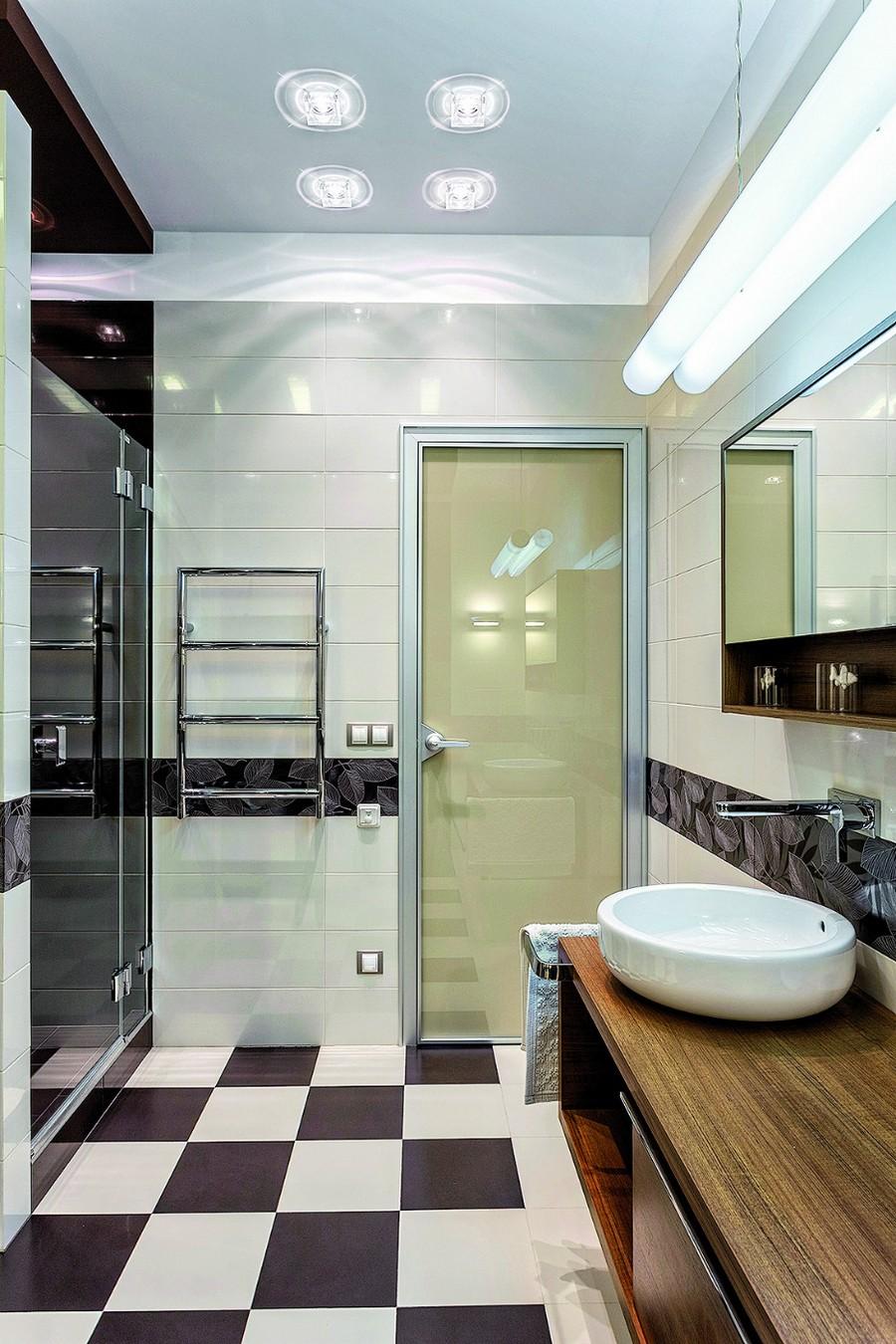 7-black-and-white-bathroom-interior-design-floor-tiles-shower-cabin-towel-drying-radiator-wooden-wash-basin-cabinet-oilve-green-glass-door