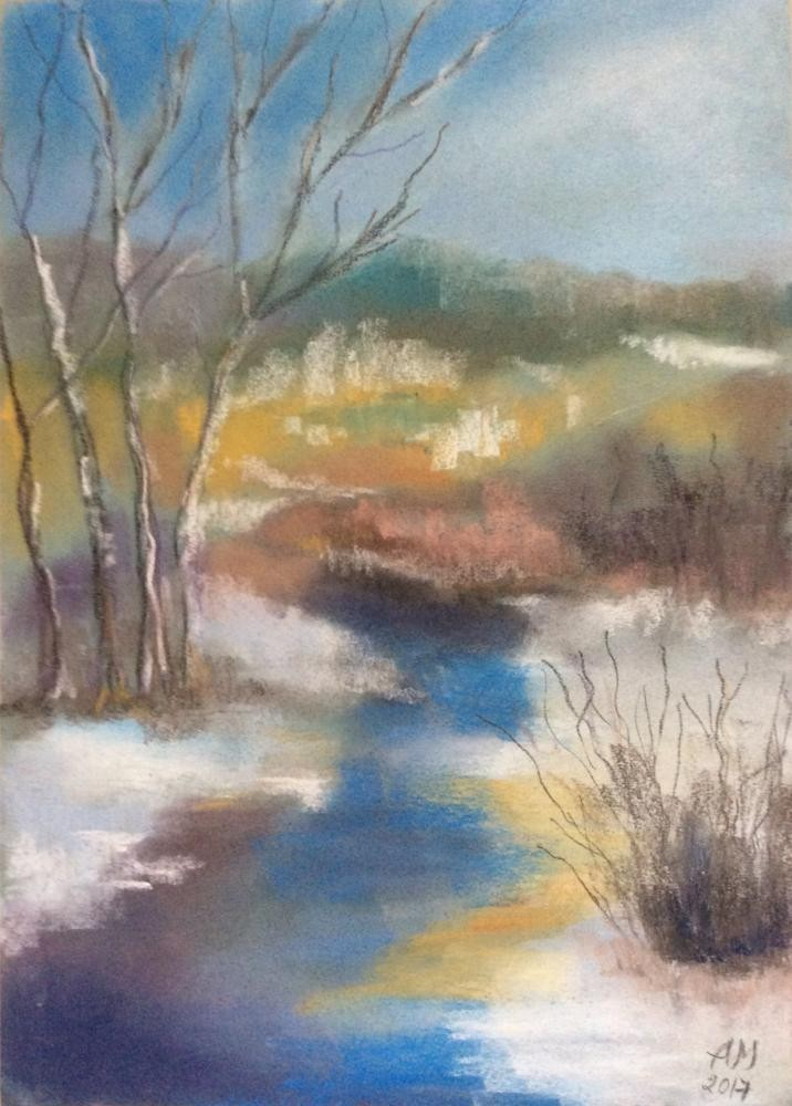 7-crayon-painting-blue-yellow-white-early-spring-melting-snow-river-trees-shrubs-sky-forest-field