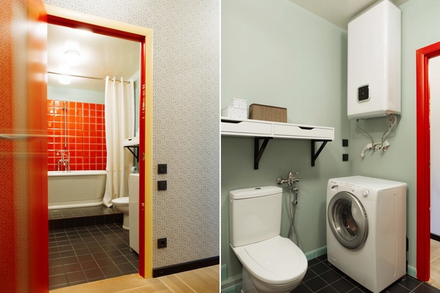 8-bachelor's-interior-design-bathroom-light-blue-walls-red-square-tiles-washing-machine-water-boiler-toilet-red-doorway-door-black-floor