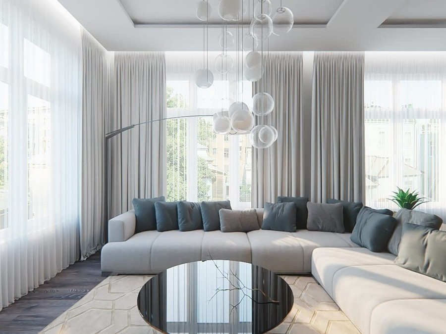 8-contemporary-style-open-concept-living-room-lounge-interior-design-white-walls-panoramic-windows-chandelier-big-gray-corner-sofa-throw-pillows-round-glossy-coffee-table-floor-lamp-gray-curtains-sheer-curtains