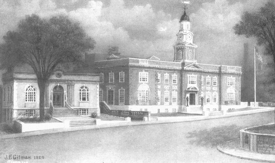 Athol-small-town-Massachusetts-USA-historic-photo-of-year-1924-downtown-town-hall-building-public-Carnegie-library-drawing
