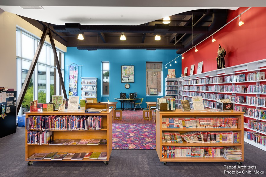 Tappe-Architects-small-town-LEED-platinum-Athol-Public-lbrary-Massachusetts-USA-interior-design-teenage-reading-hall-book-shelves-collection-blue-red-beige-walls-panoramic-window