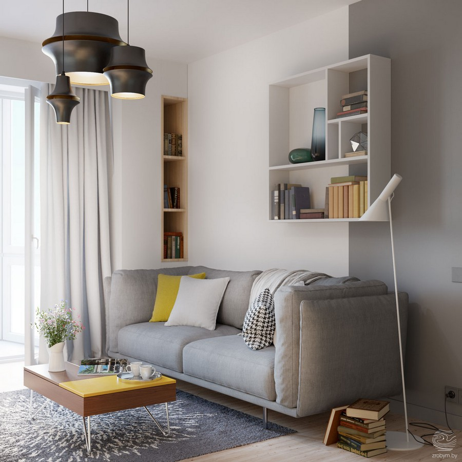0-contemporary-style-living-room-lounge-gray-comfy-sofa-white-walls-group-of-black-suspended-lamps-yellow-accents-rug-floor-lamp-book-shelves-recessed-coffee-table