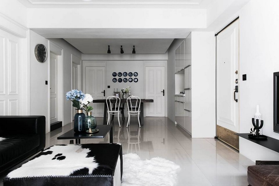 0-eclectic-Scandinavian-and-French-style-interior-black-and-white-open-concept-living-room-dining-set-many-doors