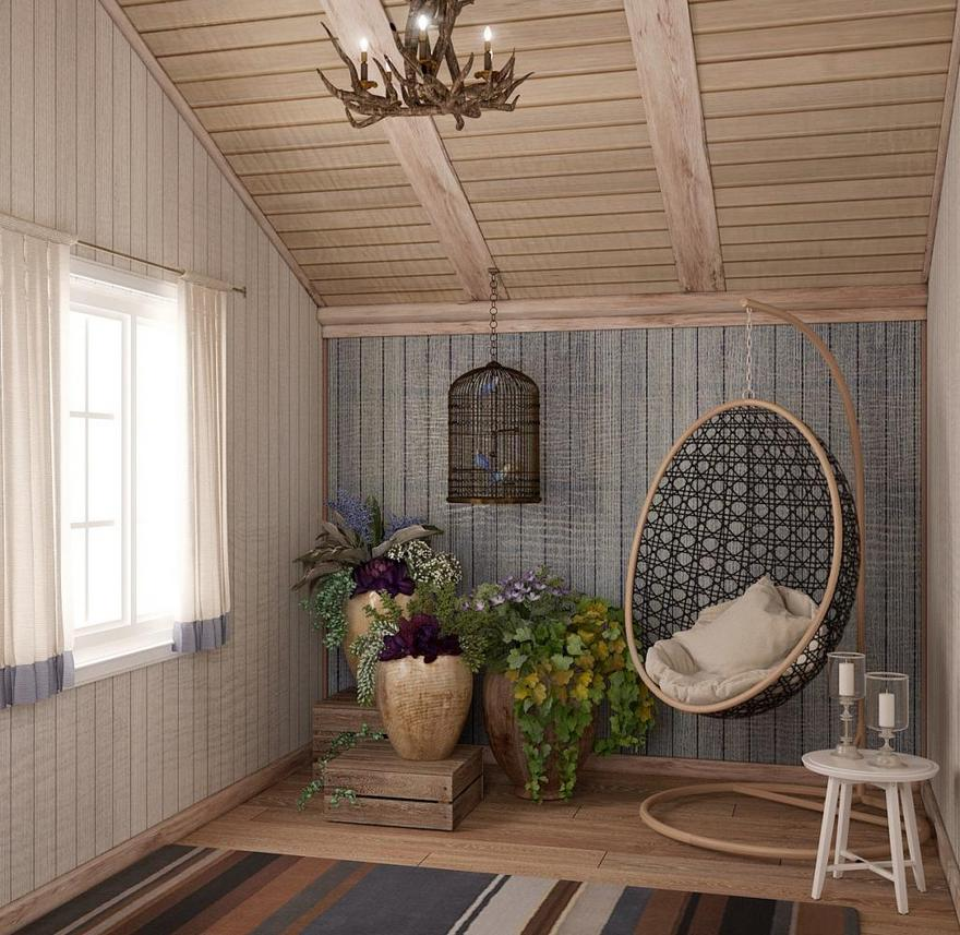 0-neutral-Scandinavian-style-interior-log-timber-house-wooden-walls-ceiling-beams-lining-boards-lounge-attic-room-sloped-ceiling-white-blue-brown-stripy-rug-suspended-hanging-chair-flower-pot-bird-cage-coffee-table