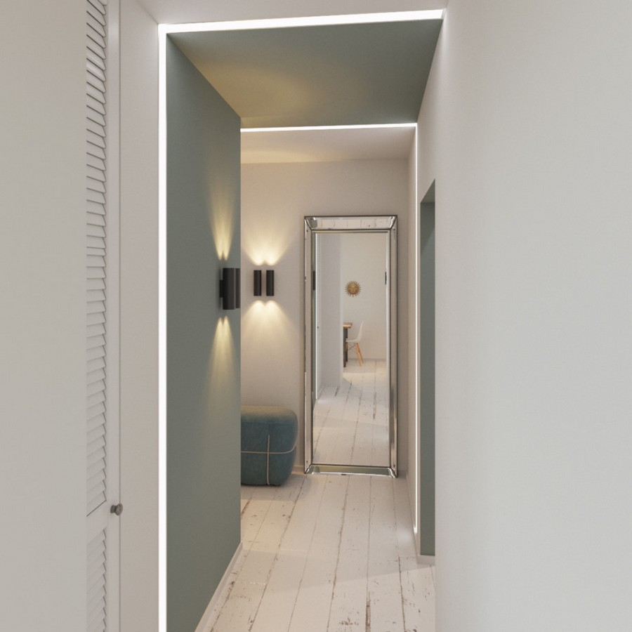 1-1-gray-and-white-contemporary-style-corridor-hallway-interior-design-plantation-shutters-door-wall-lights-lamp-sconce-white-aged-floor-big-full-length-mirror