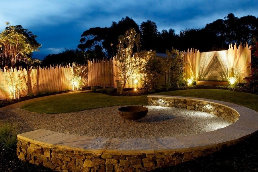 1-10-outdoor-garden-landscape-lighting-ideas-spotlighting-plants-trees-uplights-gravel-path-stone-bench-wooden-fence-in-ground-lights