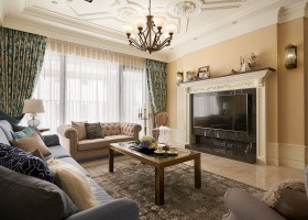 1-2-neo-classical-style-interior-neutral-beige-blue-Tuscan-colors-living-room-moldings-ceiling-medallions-black-marble-TV-set-surrounding-contemporary-furniture-chester-sofa-coffee-table