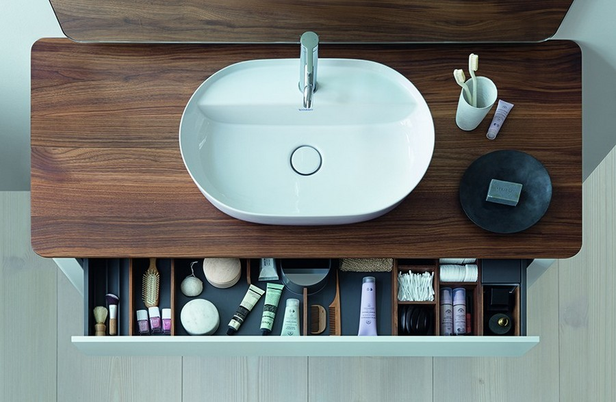 1-Duravit-new-bathroom-collection-2017-Germany-Cecilie-Manz-Luv-minimalistic-Scandinavian-style-slim-edges-rims-thin-top-mounted-wash-basin-faux-dark-wood-countetop-drawer-for-cosmetics-storage