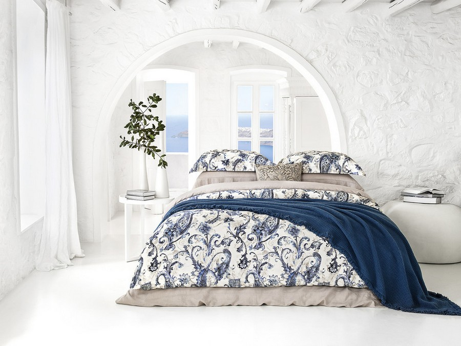 1-Togas-Greek-home-textile-new-collection-2017-Santorini-white-blue-pattern-paisley-sand-beige-bed-linen-set