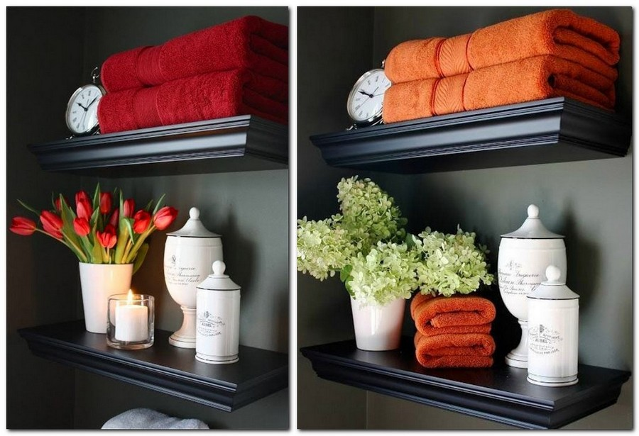1-cozy-bathroom-decor-shelves-flowers-bath-terry-towels-red-orange-vintage-clock-scented-candle-ceramic-vase