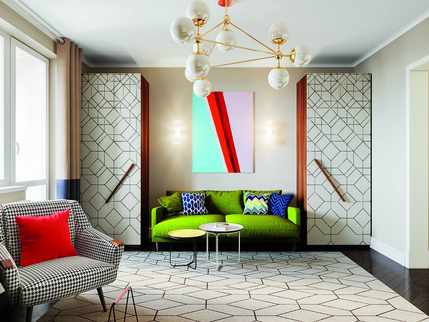1-interior-in-mid-century-modern-style-pop-art-geometrical-motifs-1950s-living-room-bright-color-multicolor-green-sofa-cabinets-TV-red-accents-rug-coffee-table-brass-lamp-symmetrical-wardrobes-arm-chair-furniture