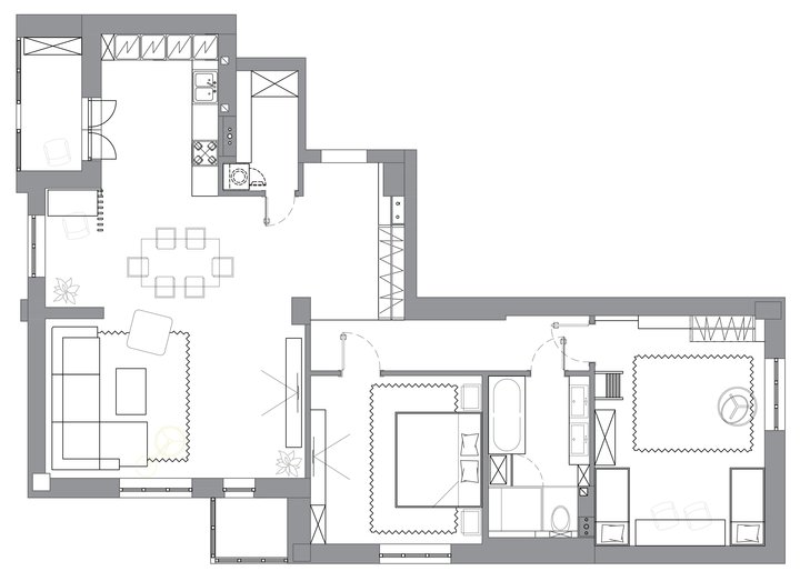 1 Three Room Apartment Plan Layout Scheme With