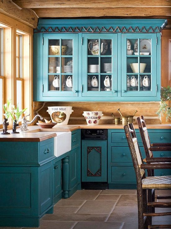Spectacular  Provence style blue kitchen cabinets set interior