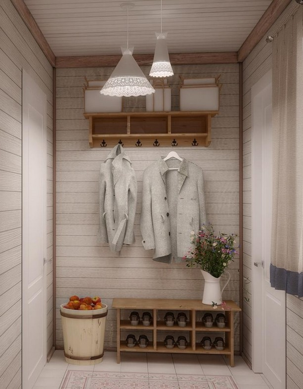 11-neutral-Scandinavian-style-interior-log-timber-house-wooden-walls-ceiling-beams-lining-boards-entry-room-IKEA-shoe-coat-rack-white-suspended-lamps