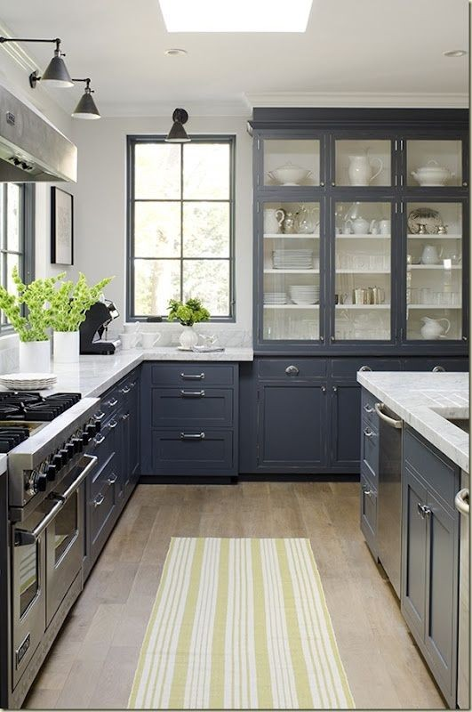 14-painted-window-frames-blue-kitchen-cabinets-set-interior-traditional-classical-style-soild-wood-glass-display-cabinets-windows