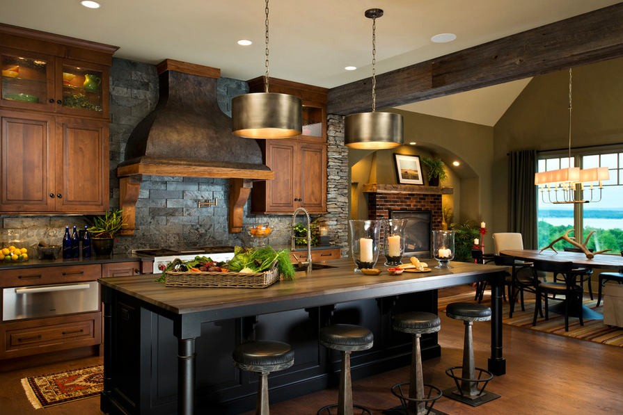 15-natural-solid-wood-kitchen-cabinets-set-interior-design-black-island-bar-stools-masonry-brick-backsplash-brick-stove-fireplace-ceiling-beams-traditional-style-cooker-hood