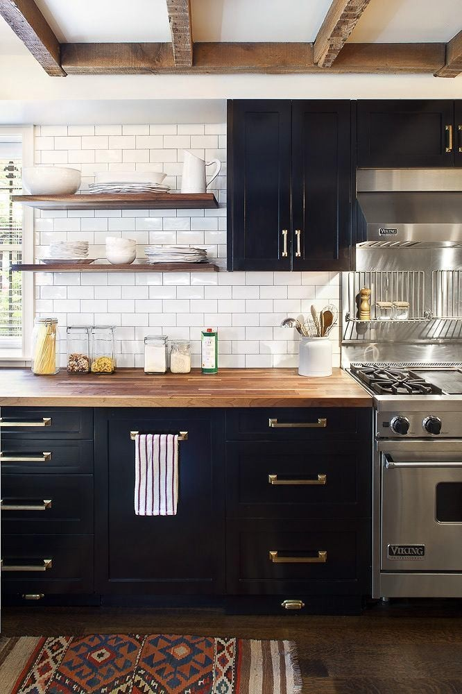 19-natural-solid-wood-kitchen-cabinets-set-interior-design-black-wooden-worktop-countertop-white-brick-wall-tiles-open-racks-shelves