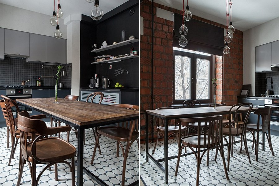 2-1-bachelor's-pad-interior-design-loft-style-brutal-dining-room-black-kitchen-set-building-bricks-rough-masonry-wall-bulbs-exposed-wires-mismatched-dining-chairs-table-floor-tiles