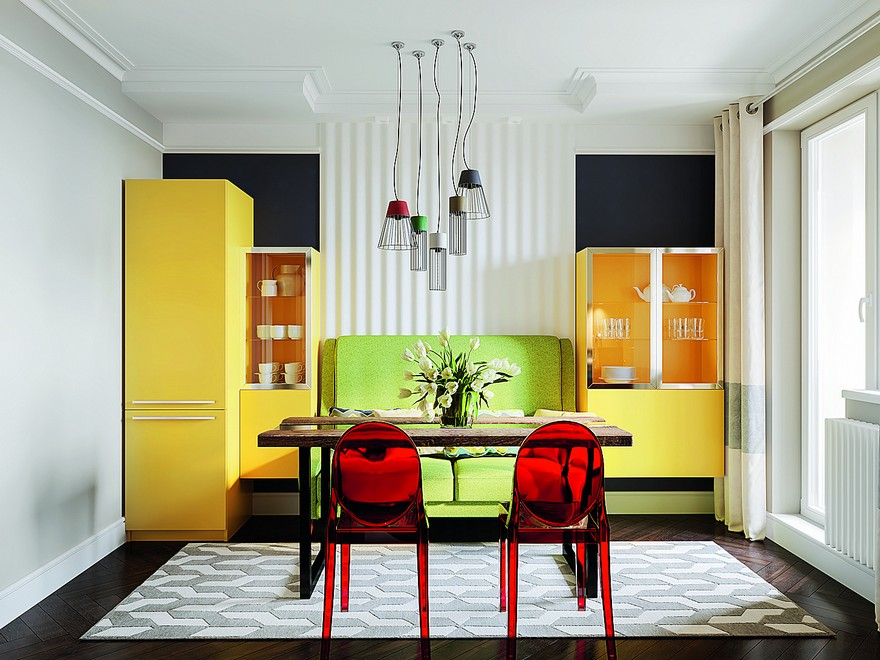 Bright Multicolor Apartment in Mid Century Modern Style  : 2 1 interior in mid century modern style pop art geometrical motifs 1950s bright color multicolor kitchen symmetrical yellow cupboards refrigerator free standing green sofa red dining chairs table rug suspended floating from homeklondike.site size 880 x 660 jpeg 139kB