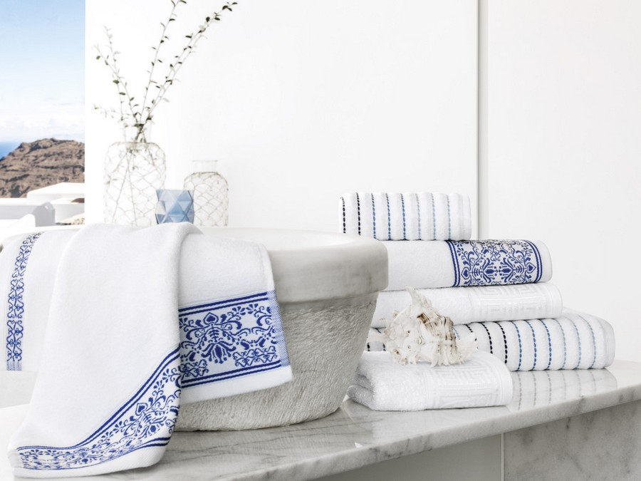 New gorgeous collection of greek home textile in white for Greek style bathroom design