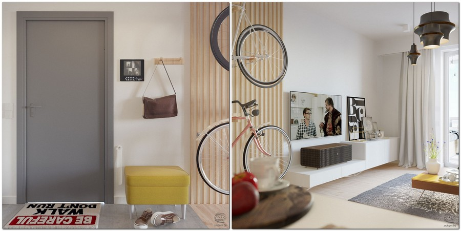 2-contemporary-style-studio-apartment-interior-design-open-concept-entry-living-room-gray-door-mat-gray-light-wood-strips-wall-mounted-bicycle-rack-white-console-TV-light-laminate
