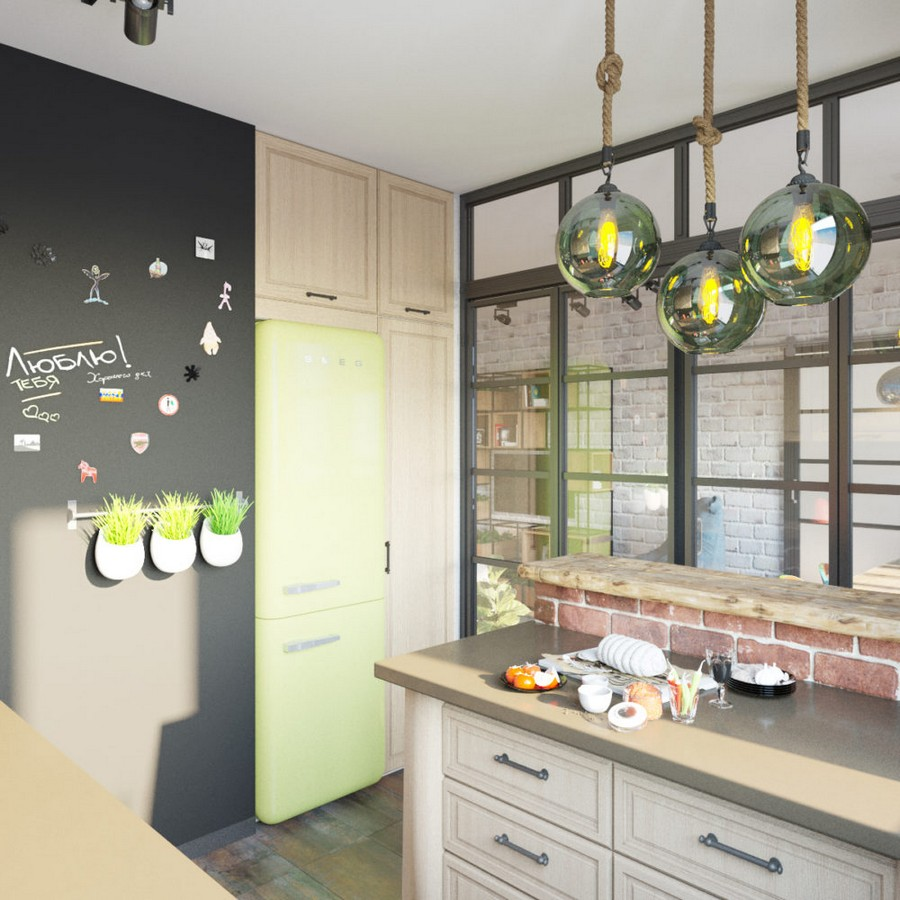 2-loft-style-kitchen-interior-glass-wall-door-partition-island-drawers-MDF-cabinets-group-of-lamps-green-retro-refrigerator-fridge-SMEG-magnetic-chalkboard-wall-paint-flower-pots-masonry-bar-brick-table