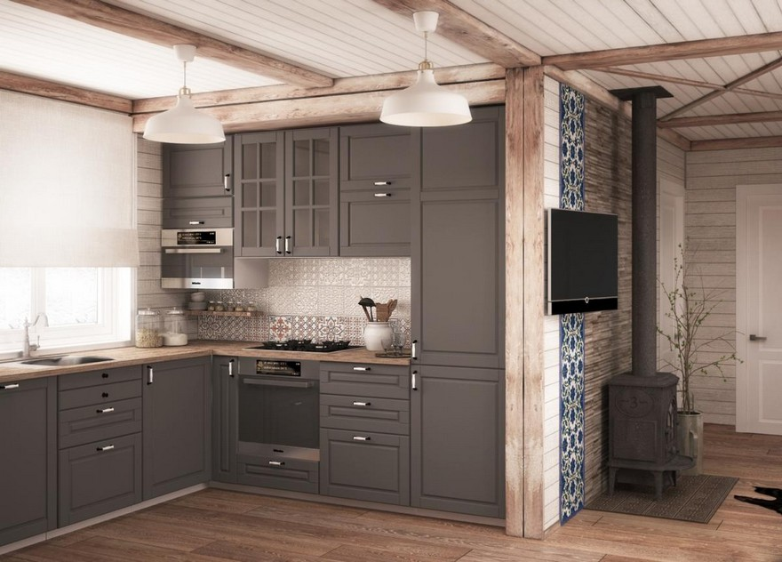 2-neutral-Scandinavian-style-interior-log-timber-house-wooden-walls-ceiling-beams-lining-boards-gray-kitchen-set-glass-cabinets-roman-blinds-cast-iron-stove-English-tiles-square-blue-ornamental-stone-wall-worktop