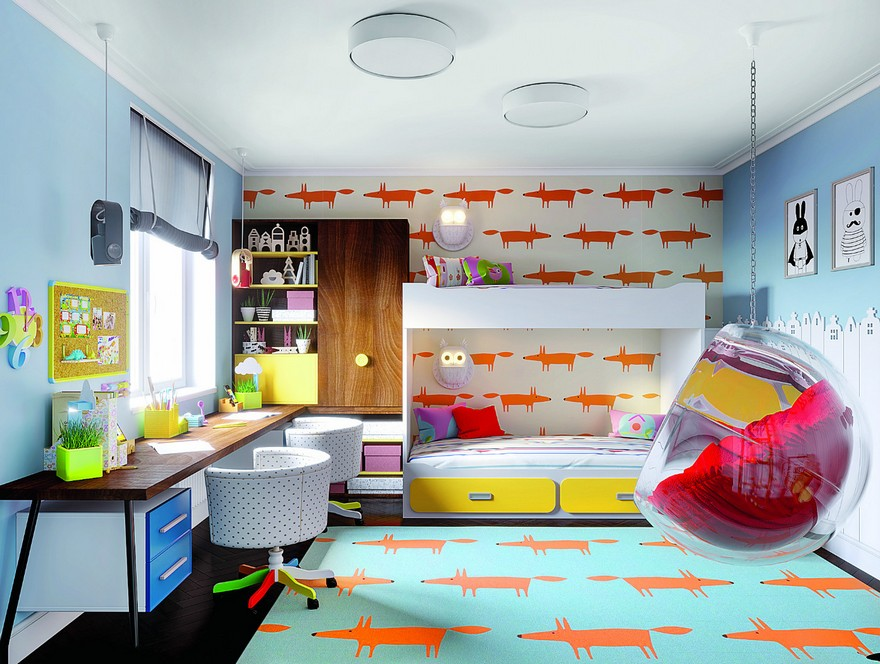 3-1-interior-in-mid-century-modern-style-pop-art-geometrical-motifs-1950s-kids-room-bright-color-multicolor-bunk-bed-hanging-bubble-chair-fox-wallpaper-rug-blue-yellow-drawers-long-two-person-double-desk-floating-cabinets