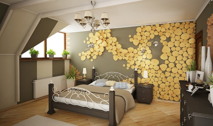 3-1-tree-wood-cross-sections-cuts-in-interior-design-decor-bedroom-accent-wall-finish-random-gray-paint-wrought-bed