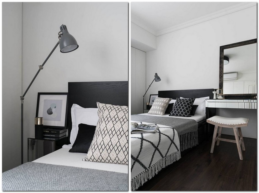 3-2-eclectic-Scandinavian-and-French-style-interior-bedroom-black-white-gray-wooden-bed-geometrical-home-textile-throw-pillows-bed-cover-bedspread-floor-lamp-nightstand-dressing-table-make-up-mirror-retro-painted