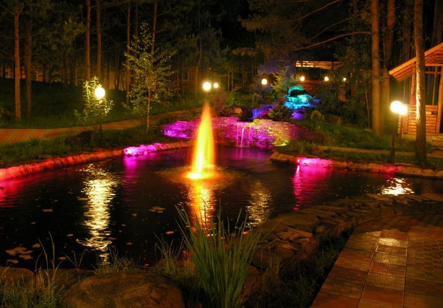 3-2-outdoor-garden-landscape-lighting-ideas-pond-underwater-multicolored-lights-fountain-waterfall