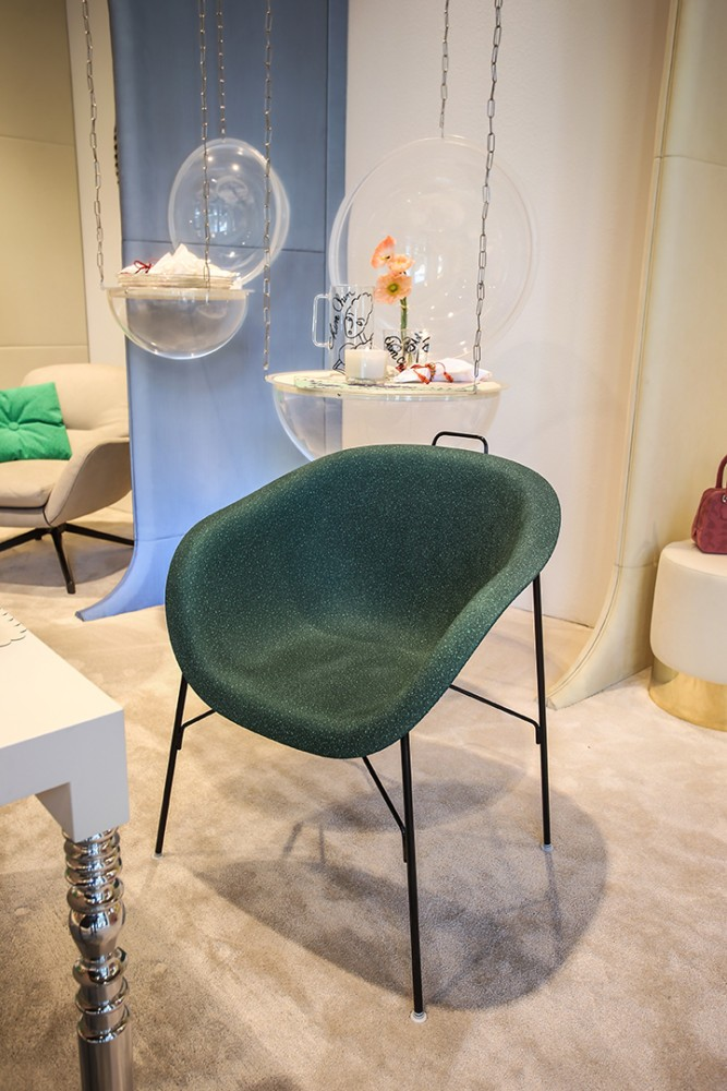 3-3-new-show-room-concept-store-in-Milan-Italy-2017-Alcantara-material-collection-in-interior-design-dining-arm-chair-upholstery-dark-green