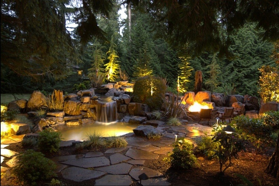 3-3-outdoor-garden-landscape-lighting-ideas-pond-underwater-lights-waterfall-rocks-conifers