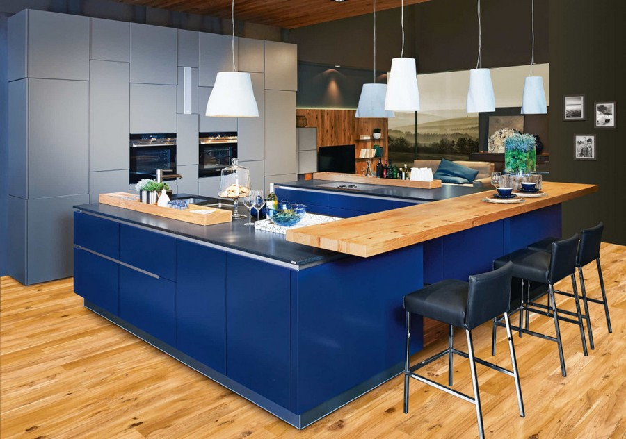3-Ewe-Germany-saturated-bright-blue-kitchen-base-cabinets-set-interior-island-bar-stools-wooden-countertop-worktop-sleek-glossy-matte-gray-cabinets-minimalism
