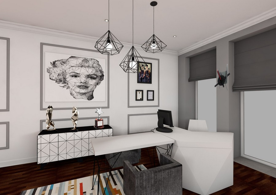 3-art-deco-style-study-work-room-interior-design-roman-blinds-lamps-rug-computer-desk-white-walls-gray-awards-console-artworks-in-passe-partout-marilyn-monroe-portrait-office