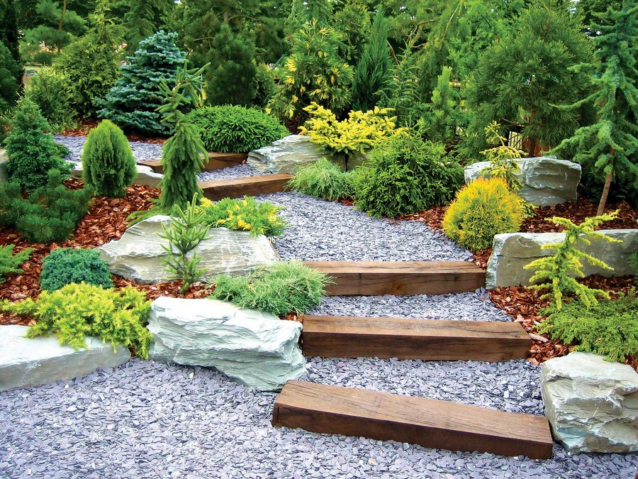3-garden-path-design-landscape-walkway-gravel-wooden-stairs-rocks-shrubs-conifers