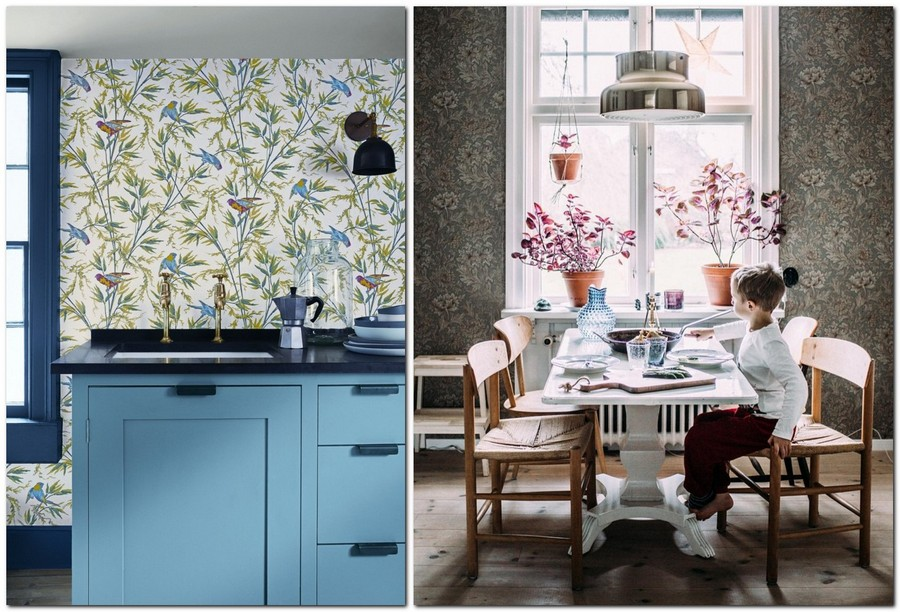 3-kitchen-wallpaper-wall-covering-ideas-in-interior-design-floral-and-bird-motifs-pattern