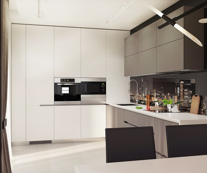 Small Kitchen With Reflective Surfaces: Relaxing Contemporary-Style Family Apartment In Beige