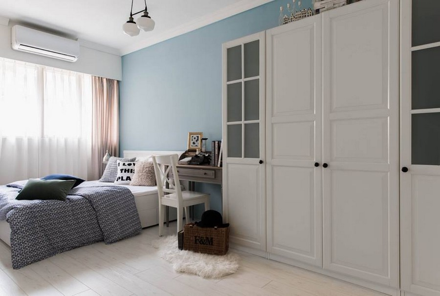 4-1-eclectic-Scandinavian-and-French-style-interior-bedroom-white-pale-pink-curtains-light-blue-wall-white-furniture-big-closet-wardrobe-console-desk-dressing-table-throw-pillows-white-floor