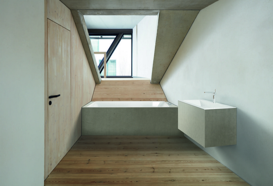 4-BetteLoft-by-Bette-rectangular-bathtub-suspended-wall-mounted-wash-basin-cabinet-vanity-unit-sloped-ceiling-wooden-floor-loft-attic