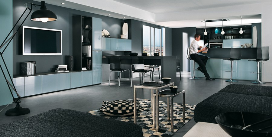 4-Mobalpa-France-light-graysih-blue-kitchen-cabinets-set-interior-living-room-cabinetry-TV-set-black-walls-bar-table-floor-lamp-glossy-finishes